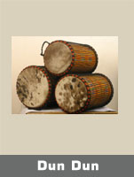Djunjuns or Dunduns are a family of three cylindrically shaped drums with cow skin affixed to both sides (double-headed) which provide the rhythmic and melodic base to the djembe orchestra.