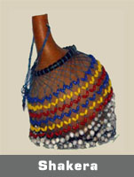 Authentic African Shakera instrument,completely handmade of calabash gourds and shells or sand cast beads.